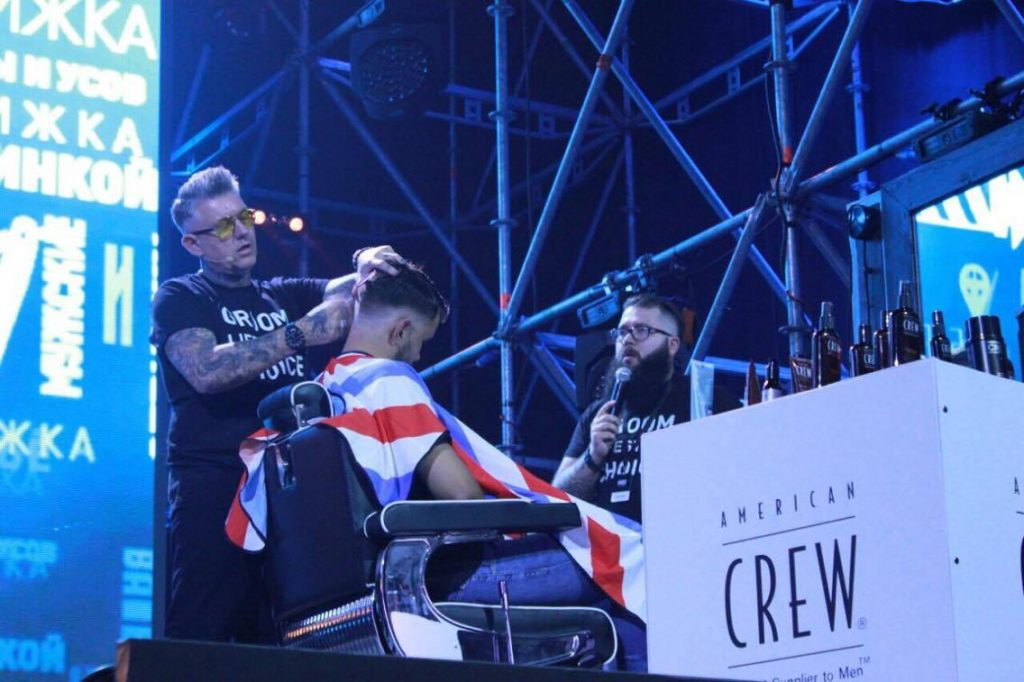 Baldy: Going big at the Barber Show in Russia.