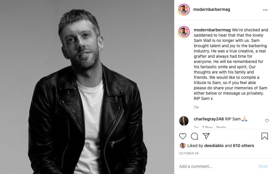 sam wall tribute instagram